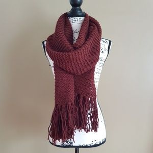 """Accessories - Knitted Women's Long Scarf Burgundy size 14"""" x 70"""""""